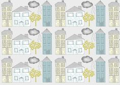 House repeat, pattern design by The Print Tree / Susan Driscoll, via Flickr