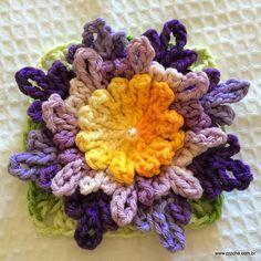 Flor Carinho - Passo a passo -->>> http://www.croche.com.br/flor-carinho-passo-a-passo/