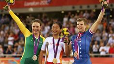 (L-R) Silver medallist Simone Kennedy of Australia, Gold medallist Zeng Siniof China and Bronze medallist Allison Jones of the United States pose on the podium during the victory ceremony for thewomen's Individual C1-2-3 Pursuit Cycling on Day 1 of the London 2012 Paralympic Games at Velodrome