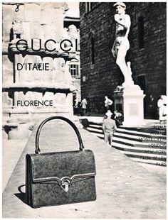 Original GUCCI D ITALIE AD HANDBAG ART FLORENCE 1950 s Vintage Advertising