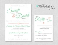 Printable Wedding Invitation  Mint Wedding by TwinkDesigns34