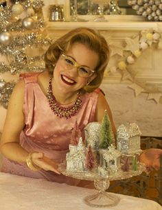 Click here to make a glittery Dollar Store Christmas Village with www.MrsPollyRogers.com