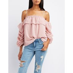 Charlotte Russe Swiss Dot Cold Shoulder Top ($16) ❤ liked on Polyvore featuring tops, mauve, holiday tops, off shoulder tops, evening tops, cut off shoulder top and cut-out shoulder tops