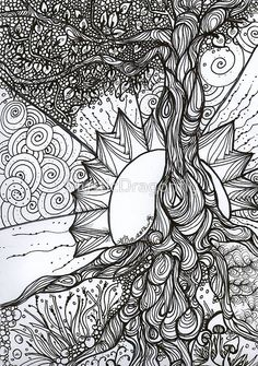 Tree of Life Zentangle.will use this idea for my next Zentangle ispiration! Abstract Coloring Pages, Colouring Pages, Adult Coloring Pages, Coloring Books, Coloring Sheets, Adult Colouring In, Free Coloring, Doodle Drawing, Mandalas Drawing