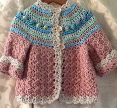 Little girls hand crochet sweater size 1 to 2 by GerardiGallery