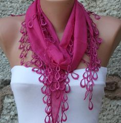 Fuchsia Scarf Cotton Scarf Headband Necklace Cowl with Lace Edge by Fatwoman, $13.50