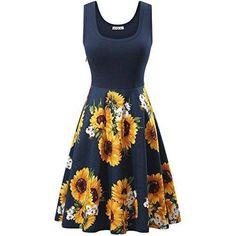 181952c5f22 OUGES Women s Halter Neck Floral Summer Casual Sundress  dress ...