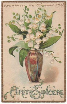 LILIES OF THE VALLEY - ART NOUVEAU VASE Original Vintage Postcard