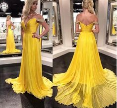 yellow off shoulder a line long chiffon crystal prom dresses,a line off shoulder long chiffon yellow crystal evening party gown