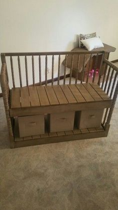 Repurposed crib / bench by Crafty Lefty Furniture Projects, Kids Furniture, Furniture Making, Craft Projects, Modern Furniture, Furniture Cleaning, Refurbished Furniture, Repurposed Furniture, Furniture Makeover