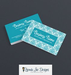 Business Card Designs - 2 Sided Printable Business Card Design - Blue Business Card Designs - Blue Damask 2 by RhondaJai on Etsy