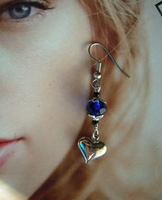 Charming Blue Heart Earrings Handcrafted Dangly Silver Tone Charms Crystal Beads #MDHcrafts #Dangle
