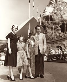 Then Vice-President Richard Nixon and family pose next to the Matterhorn, June 1959