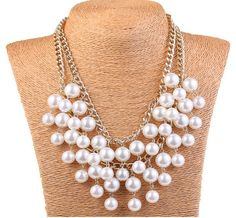 Multi-Row Fringe Pearl Bib Necklace