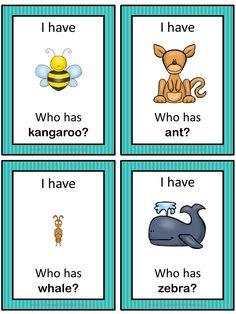 This ESL game can be played to practice English vocabulary for animals. The game has 47 cards with a colorful frame and 47 cards with a simple black frame to save you ink. There are 4 cards per page.