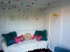 Tropical themed summerhouse / she shed interior. This spacious she shed is a Waltons Helios Summerhouse