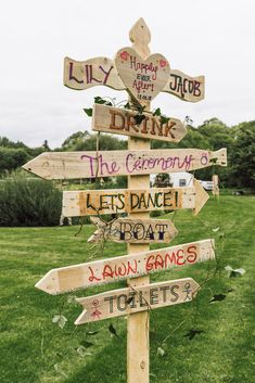 Wooden signpost festival wedding sign · Rock n Roll Bride Did someone say Coachella? Check out this board for some alternative festival wedding inspiration. Pagan Wedding, Tipi Wedding, Wedding Signage, Wedding Themes, Our Wedding, Hippie Wedding Decorations, Wooden Wedding Signs, Wedding Ideas, Wedding Cakes