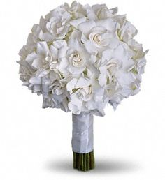 Gardenias and hydrangea are paired for a stunning all-white bouquet.