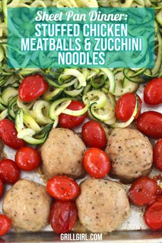 If you're looking for a delicious and healthy dinner recipe and love zucchini noodles then you will really enjoy this easy sheet pan dinner you can prepare in the oven or pellet smoker Smoked Chicken Recipes, Grilling Recipes, Smoker Recipes, Chicken Meatballs, Cooking Ingredients, Zucchini Noodles, Cookbook Recipes, Sheet Pan, Healthy Dinner Recipes