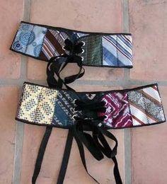 upcycled necktie, belt, tutorial, diy fashion, necktie craft project, necktie belt, sewing, tutorial, corset belt, men's   ties  love this belt!!