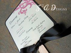 Fan Wedding Program  Pink & Black Swirl by 1stImpressionInvites