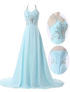 Light Blue A-Line Halter Sleeveless Sweep Train Lace-Up Beading Crystal Long Prom Dress Modest Prom Dress by DestinyDress, $177.31 USD