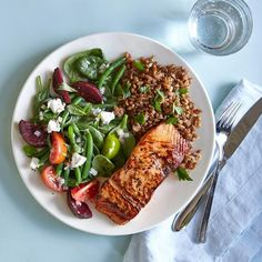 How to Eat Clean in 6 Simple Steps: Salmon with Maple-Lemon Glaze, Parsley-Farro Salad, and Market Salad with Goat Cheese   CookingLight.com