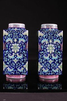 """19TH TO 20TH CENTURY PAIR OF CHINESE DAQING DAOGUANG NIANZHI MARKED FAMILLE ROSE PORCELAIN SQUARE VASES PAINTED WITH FLOWERS W:3.5"""" H:8"""" Asian Vases, Blue And White China, Chinese Ceramics, Enamels, Chinese Antiques, Chinese Art, Beautiful Hands, Affair, Bowls"""