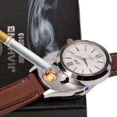Original Electronic USB Lighter Watches Windproof Flameless Cigarette Lighter Men Women Luxury Quartz Wristwatches WL003-V15