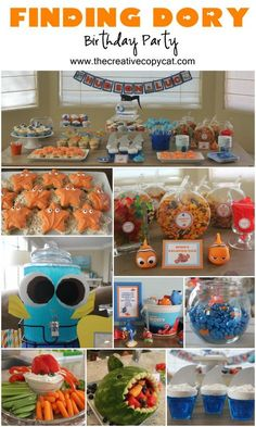 tons of fun ideas for a finding dory, finding nemo, little mermaid or ocean themed party 3rd Birthday Parties, 2nd Birthday, Birthday Ideas, Disney Birthday, Themed Parties, Kid Parties, Birthday Games, 1st Birthdays, Party Fiesta