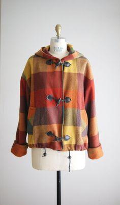 vintage SUN SPICE plaid wool hooded jacket