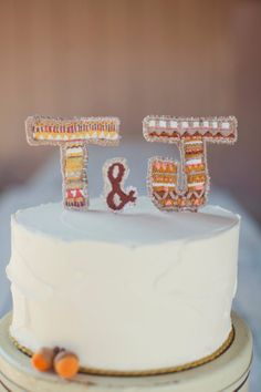 Embroidered Cake Toppers  Two Initials / Ampersand by LettieBriggs, $50.00