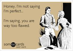 Honey, I'm not saying I'm perfect... I'm saying, you are way too flawed.