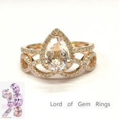 Pear Morganite Engagement Ring Sets Pave Diamond Wedding 14K Rose Gold 6x8mm