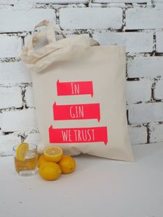 In Gin we trust reusable shopping tote by KellyConnorDesigns