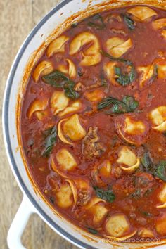 Tortellini Soup with Italian Sausage & Spinach - Yellow Bliss Road