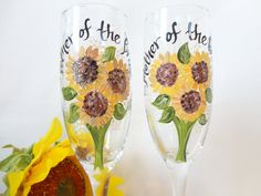 MOTHER of the BRIDE & GROOM - Sunflower Hand Painted Wine Glasses - Bridal Party Wine Glasses - Bridal Party Glassware - Gift Wrap Available by samdesigns22 on Etsy
