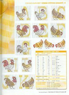 Chicken cross stitch alphabet 1