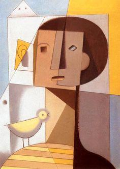 Dezso Korniss, Boy with Bird, 1934