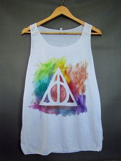 Galaxy Rainbow Deathly Hallows Harry Potter Mystery Zodiac Magic Spell Hipster Workout Graphic Tee Girl T Shirt Tshirt White Tank Top Women