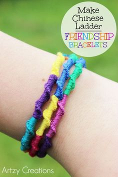 Embroidery Bracelets Design Learn how to make Chinese Ladder Friendship Bracelet! Friendship bracelets provide endless hours of quiet fun. Teen Girl Crafts, Diy Crafts For Teens, Arts And Crafts, Craft Ideas, Diy Ideas, Kids Diy, Fun Crafts, Crafts Cheap, Tape Crafts