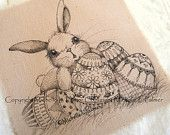Original Pen Ink on Fabric Illustration Quilt Label by Michelle Palmer Bunny Rabbit Spring Easter Eggs