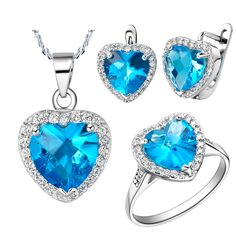Baby Blue Zircon White Crystal 925 Sterling Silver Wedding Jewelry Sets Pendant/Necklace/Earrings/Ring For Women Free Bag SCT009 #Affiliate