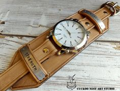 Natural color Leather watch Personalized by CuckooNestArtStudio