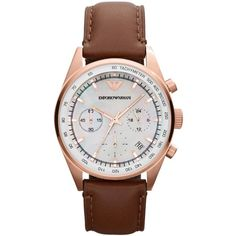Emporio Armani Watch, Men's Chronograph Brown Leather Strap 39mm... ($345) ❤ liked on Polyvore featuring men's fashion, men's jewelry, men's watches and no color