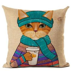 Cats Love Coffee Cushion Covers