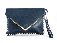 Black clutch with gold studded detail Black Clutch Bags, Gold Studs, Detail
