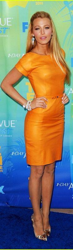 Blake Lively orange leather