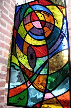 Stained Glass Panel Abstract Geometric Hand Painted Kiln Fired Leaded New Modern Stained Glass, Faux Stained Glass, Stained Glass Designs, Painted Christmas Ornaments, 10 Picture, Glass Panels, Mosaic Glass, Creative Inspiration, Images