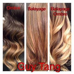 Difference between ombré and balayage, ombré is a word to describe the graduation of color or contrast. Balayage is a technique that means free hand painting! First picture of the left is an ombré I did, the middle is regular balayage highlights and the far left is an ombré created using the balayage method! Can the effects of balayage be created using foils? Yes it can! Who cares about the method , all the clients care about is the results!